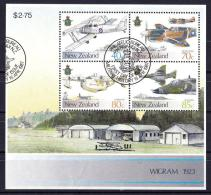 New Zealand 1987 Military History - Air Force Minisheet Used  - Slight Creasing Near Base - Used Stamps