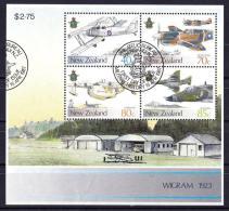 New Zealand 1987 Military History - Air Force Minisheet Used  - Slight Creasing Near Base - New Zealand