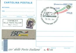 PISA - 150^ POSTE ITALIANE. -CARTOLINA POSTALE CON SOPRASTAMPA PRIVATA - 6. 1946-.. Repubblica