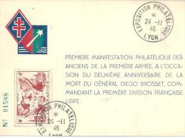 Lyon Exposition 24 11 1946 Général Brosset - Marcophilie (Lettres)