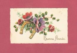 *  Mignonette De Bonne Année :  Bouquet De Fleurs Et Fer à Cheval  : Scan N° 49  : Voir Les 2 Scan - Nouvel An