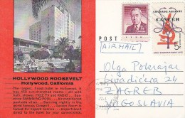 Hollywood CA - Hotel Roosevelt 1965 - stamp Crusade against Cancer