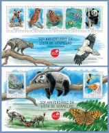 gb14204ab Guinea Bissau 2014 Red list 2 s/s Dog Owl Butterfly Fish Panda Eagle