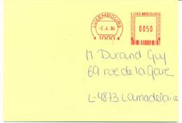 (D0902) Luxembourg Affranchissement Mécanique Rouge 2004 - Marcophilie - EMA (Empreintes Machines)