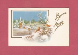 *  Mignonette De Bonne Année :  Eglise Sous La Neige Et Deux Oiseaux  : Scan N° 76  : Voir Les 2 Scan - Nouvel An