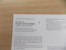 Doodsprentje Paula Vandamme Wervik 9/7/1938 Roeselare 6/4/1989 ( André Vervaeke ) - Religione & Esoterismo