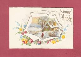 *  Mignonette De Bonne Année ( Dépliant ) :  Maison Sous La Neige   : Scan N° 83  : Voir Les 3 Scans - Nouvel An