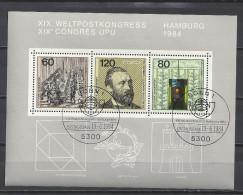 Deutschland Bund 1984 Block 19 Ersttagssonderstempel ** Weltpostkongress Hamburg Mi 1215 1216 1217 - BRD