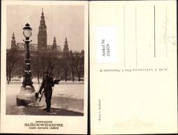 336829,Wien 1 Rathaus Schornsteinfeger Rauchfangkehrer Winteransicht Neujahr