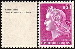 France N° 1536 A ** Marianne De Cheffer - La République Le 0fr30 Lilas Gravé, Roulette, Gomme Tropicale (roulette) - France