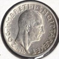 ALBANIA ALBANIE 1 FRANG AR 1935 ARGENT SILVER - Albania