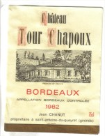 PUBLICITE BISTROT 2 ETIQUETTES VIN BORDEAUX - Chateau Tour Chapoux 1982 - Bordeaux