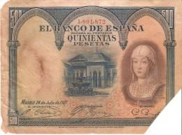 BILLETE DE 500 PTAS DEL AÑO 1927  DE ISABEL LA CATÓLICA SIN SERIE CALIDAD RC (BANKNOTE) ROTURA - 500 Pesetas
