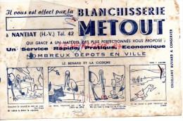 87 - NANTIAT - BUVARD BLANCHISSERIE METOUT - LE RENARD ET LA CIGOGNE - Buvards, Protège-cahiers Illustrés