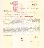 JOHORE STATE POSTAGE STAMP USED ON 1940 PROMISSORY NOTE - Maleisië (1964-...)