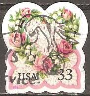 �tats Unis - 1999 - Fleurs en forme de c�ur sur fond de dentelle - YT 2835 oblit�r�