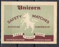 Etiqueta Safety Matches . Cerillas De Precision UNICORN - Objetos Para Fumadores