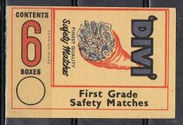 Etiqueta Safety Matches . Cuerno Abundancia. Cerillas De Precision DIVI - Objetos Para Fumadores