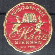 Etiqueta KONDITOREI CAFE. Haas Giessen 1928 - Etiquetas