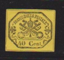 Etats Pontificaux // N 17  //   40 C Jaune   //  Côte 75 € //  NEUF Avec Charnière - Papal States