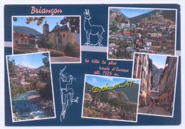 {34878} 05 Hautes Alpes Briançon , Multivues ; Vue Générale , La Grande Gargouille , Le Jardin Et La Cathédrale - Briancon