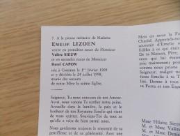 Doodsprentje Emelie Lizoen Komen 1/2/1909 - 24/7/1998 ( Valère Sieuw En Henri Capon ) - Religione & Esoterismo