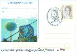 CASOLI - 100^ PRIMO VIAGGIO PALLONE FRENATO - CARTOLINA - INTERO POSTALE CON SOPRASTAMPA PRIVATA - Balloons