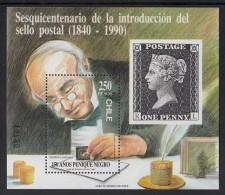 Chile MNH Scott #893a Souvenir Sheet 250p Sir Rowland Hill - 150th Anniversary Penny Black - Chili