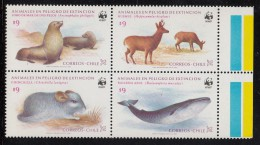 Chile MNH Scott #682a Block Of 4 Chinchilla, Blue Whale, Sea Lions, Chilean Huemuis - Endangered Species WWF - Chili