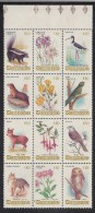 Chile MNH Scott #686 Block Of 12 Flora And Fauna - Skunk, Owl, Fuchsia, Otter, Parrot, Etc - Chili