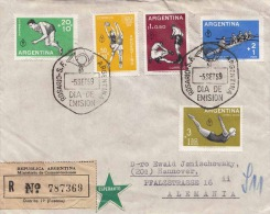 R-Brief ARGENTINA 1959 - 7 Fach Frankierung + Esperanto-Vignette Auf Brief Gel.von Rosario > Hannover - Argentinien