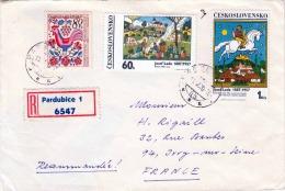 R-Brief CSSR 1970 - 3 Fach Frankierung Auf Brief Gel.von Pardubice? > France