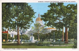 HABANA (Cuba) - Fraternity Park, Lions Fountain, Gel.1953, Schöne 3 Fach Frankierung - Cuba