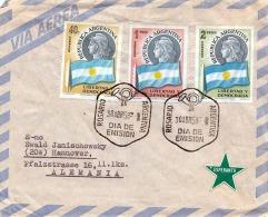 FP-Brief ARGENTINA 1958 - 3 Fach Frankierung Auf Brief Mit Esperanto Aufkleber, Gel.von Rosario > Hannover - Argentinien