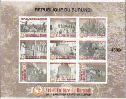 [L] Feuilet Sheet ** Art  & Culture Burundi 30 Ans Years PAPU Union Panafricaine Des Postes - Non Classés