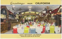 Los Angeles California, Lucca Restaurant Interior, c1930s/40s Vintage Linen Postcard