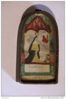 Reliquaire  Image De Sainte Rose Peinte à La Main  Sur Parchemin Dans Un Reliquaire, - Religion & Esotérisme