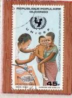 REP  POPULAIRE  DU  CONGO  --  U.N.I.C.E.F.  --  VACCINATION   --  **  45 F. **  -- POSTE  1987  -- BEG - Oblitérés