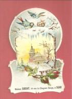 Chromo Découpi Gaufré Maison RONDOT Dijon Paysage D'hiver Rose Mésange - Autres