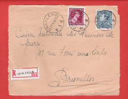 RECOMMANDE - AANGETEKEND - L (devant) Col Ouvert Et Poortman Obl  CHARLEROI 3 - 21 IV 1952 - 1936-1951 Poortman