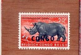 CONGO  BELGE   -- RHINOCEROS  SURCHARGE  CONGO   --  **  20 C. **  --  POSTE  1960  -- NEUF SANS TRACE DE CHARNIERE - Belgian Congo
