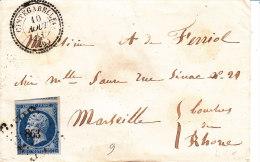 Haute-Garonne,  CINTEGABELLE, Cachet 22 Perlé , Pc 863, Enveloppe - Marcophilie (Lettres)