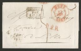 Belgique - Précurseur - LAC Du 13/02/1837 De Mons (MONS En Rouge) Vers Lille + Cachets B2R Et Belgique Par Lille Encadré - 1794-1814 (French Period)