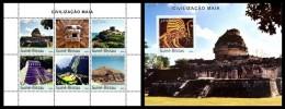 GUINEA BISSAU 2003 - Civilization Of Maya - Mi 2206-11 + B399, YT 1264-9 + BF162 - Archeologia