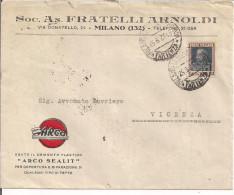 ARNOLDI, FRATELLI,MILANO,BUSTA COMMERCIALE VIAGGIATA 1927 PER VICENZA, - Italia