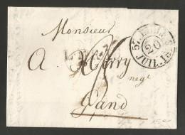 France - LAC Du 19/07/1828 De Lille (cachet DC Lille) Vers Gand Cachet Noir LFR1 Taxée 25 Décimes + FRANKRYK OVER MENEN - 1801-1848: Precursors XIX