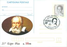 PISA - GALILEO GALILEI - 21^ EXPO PISA - ANNO INTERNAZ. ASTRONOMIA  - CARTOLINA - INTERO POSTALE CON SOPRASTAMPA PRIVATA - Célébrités