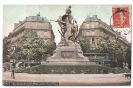 CP, 75, PARIS, Monument De Victor-Hugo, Place Victor-Hugo, Voyagé En 1911 - Statues