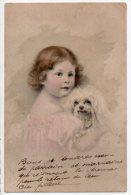 JOLIE PETITE FILLETTE ET SON CHIEN - Ref. N°2143 - - Portraits