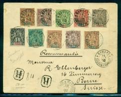 French Sudan (Soudan) & Senegal Multifranked Navigation & Commerce Registered Cover to Switzerland (1902) $$$$$